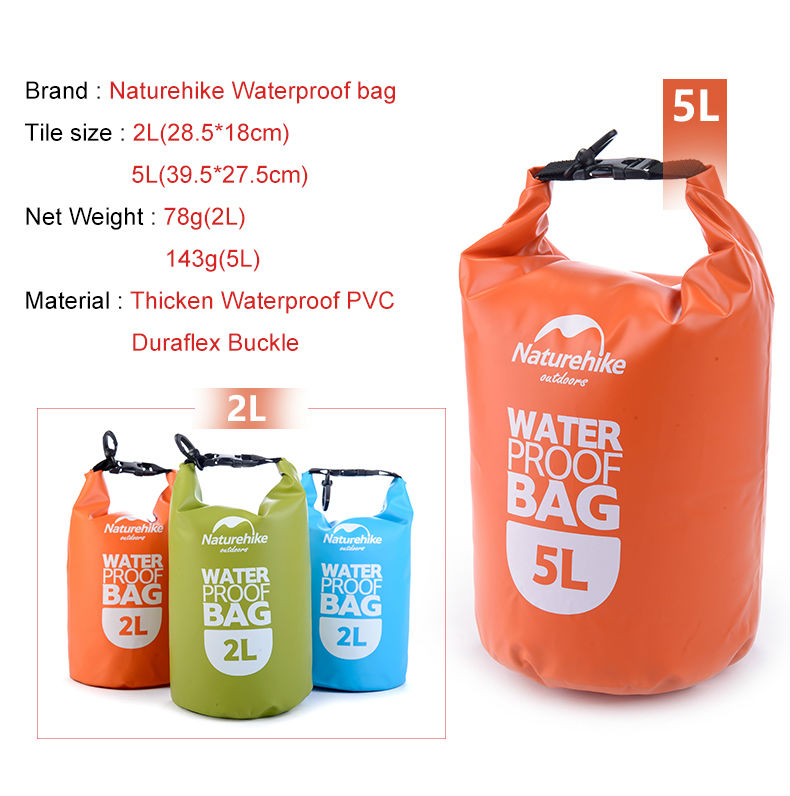 2c861b680250 Naturehike Outdoor PVC Waterproof Dry Sack Storage Bag Rafting Sports  Kayaking Canoeing Swimming Bag Travel Kits 2L 5L 15L 25L