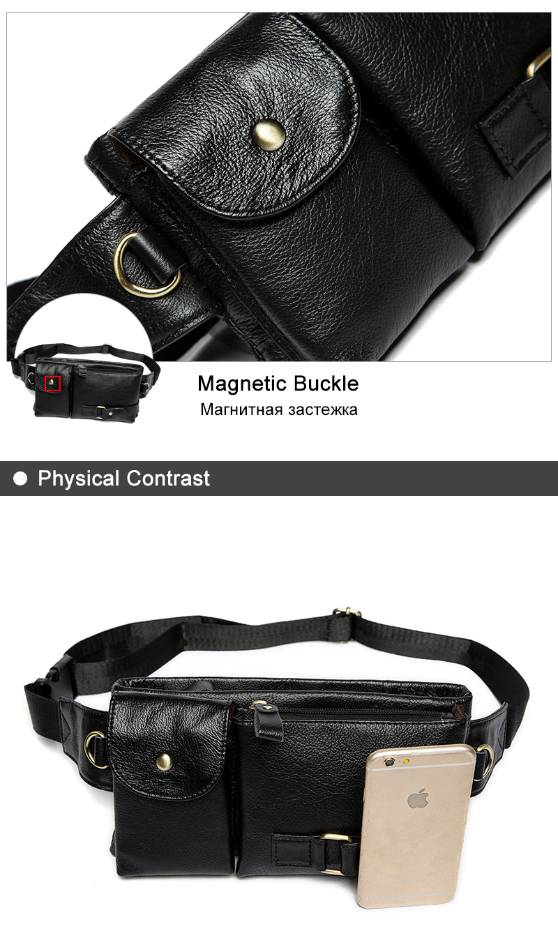 6674d93399 Genuine Leather Waist Packs Fanny Pack Belt Bag Phone Pouch Bags Travel Waist  Pack Male Small Waist Bag Leather Pouch